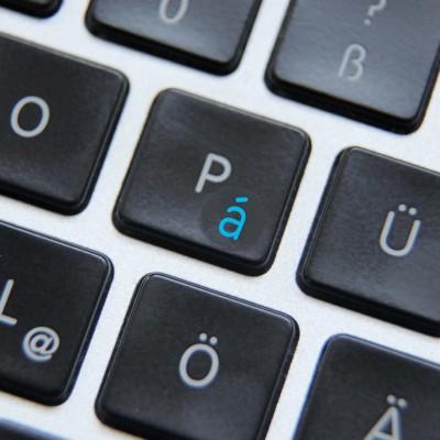 stickers on a keyboard blue