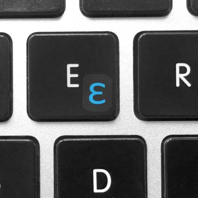install greek keyboard sticker blue