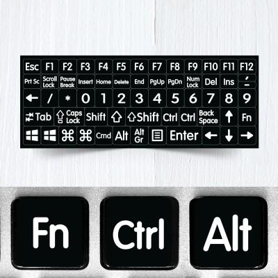 Velké funkční a modifikační neprůhledné nálepky na černou klávesnice