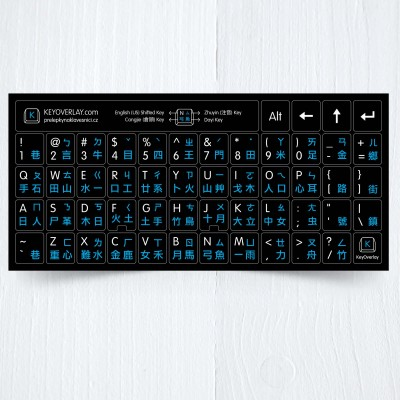 Chine keyboard blue