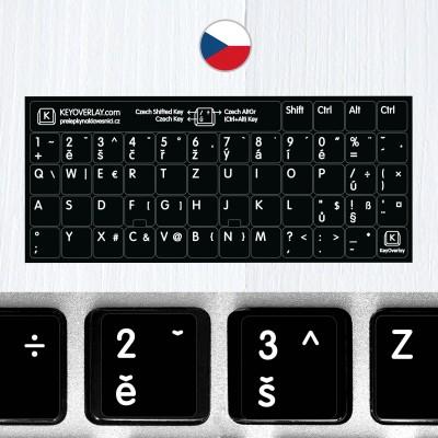 Česká klávesnice na černém pozadí (rozšířená verze)