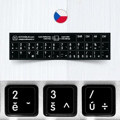 Česká klávesnice na černém pozadí (zkrácená verze)