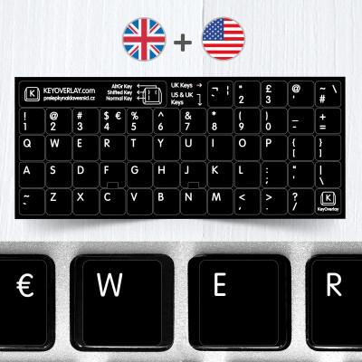 Britská a americká klávesnice v jednom – přelepky celých kláves
