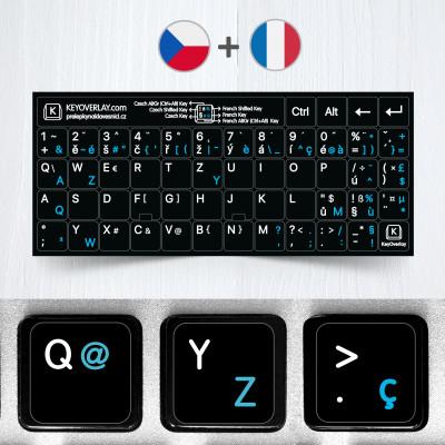 České a francouzské přelepky celých kláves na černém pozadí (rozšířená verze)