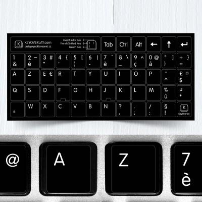 Francouzština (AZERTY) – celé přelepky kláves na černém pozadí