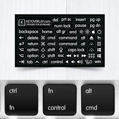 Malé funkční a modifikační neprůhledné samolepky na klávesnice