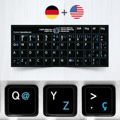 Německé a anglické přelepky na černém pozadí (rozšířená verze)