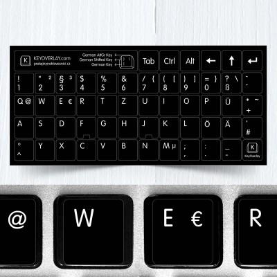 Německé přelepky celých kláves na černém pozadí (rozšířená verze)