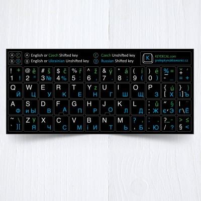 Ruština, Ukrajinština, Čeština, Angličtina – přelepky celých kláves