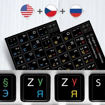 Ruské, České a Anglické přelepky celých kláves na černém pozadí