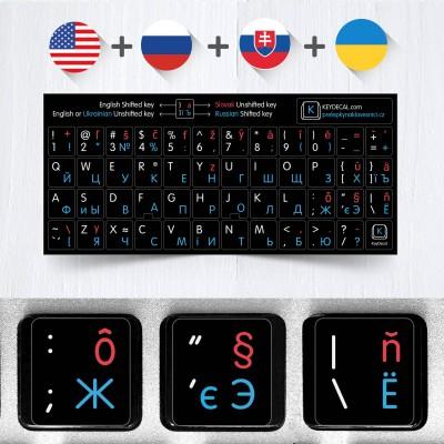 Slovenština, Ruština, Angličtina, Ukrajinština – přelepky celých kláves (4 v 1)