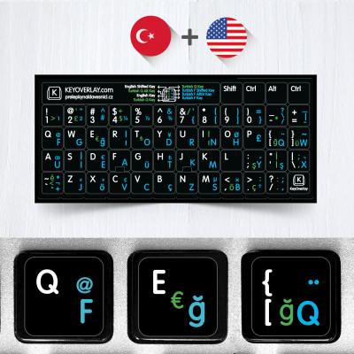 Turecké (F / Q) a anglické neprůhledné přelepky na černém pozadí