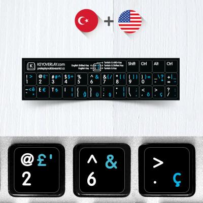 Turecké a anglické neprůhledné přelepky na černém pozadí (zkrácená verze)