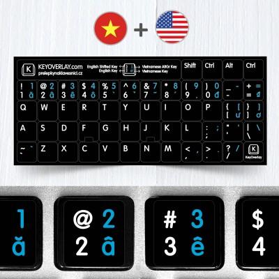 Vietnamské a anglické přelepky na černém pozadí (rozšířená verze)