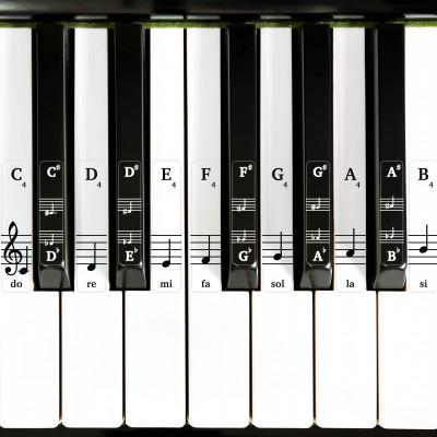 Přelepky na klaviaturu – na bílé a černé klávesy