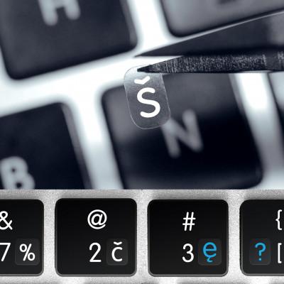 Estonské transparentní mini přelepky na tmavou klávesnici