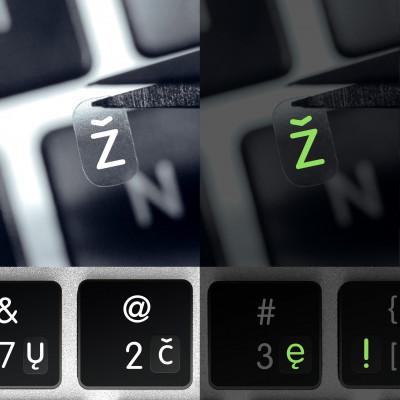 Estonské luminiscenční mini přelepky na tmavou klávesnici