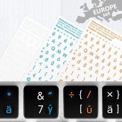 Vícejazyčná sada evropských jazyků a symbolů v latince