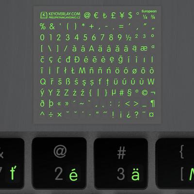 t european keyboard glow dark