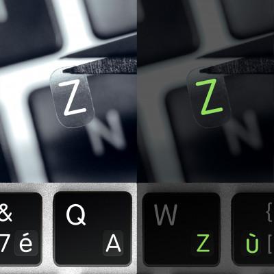 Francouzské luminiscenční mini přelepky na klávesnici na transparentním pozadí