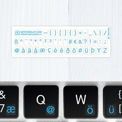 t german keyboard stickers blue