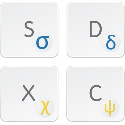 Řecké přelepky na SVĚTLOU klávesnici – průhledné pozadí