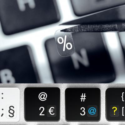 Interpunkční, matematické znaky a číslice – průhledné přelepky na klávesnici