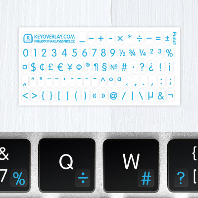 t numbers keyboard stickers blue