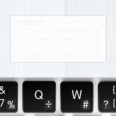 t numbers keyboard stickers white