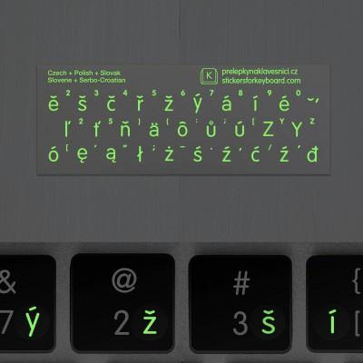 Luminiscenční přelepky na klávesnici – západoslovanské jazyky