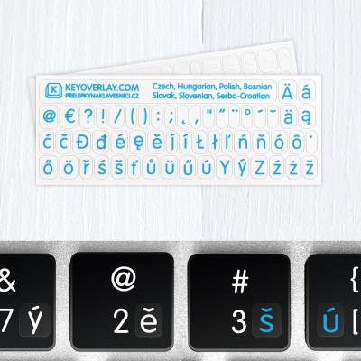 Západoslovanské jazyky – průhledné přelepky na klávesnici (včetně interpunkčních znaků)