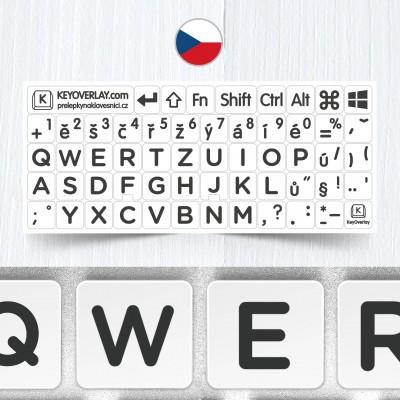 Česká velká písmena – nálepky na celou klávesnici, bílé pozadí