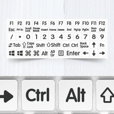 Velké funkční a modifikační neprůhledné nálepky na bílou klávesnice