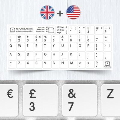 Britská a americká klávesnice – přelepky kláves na bílém pozadí
