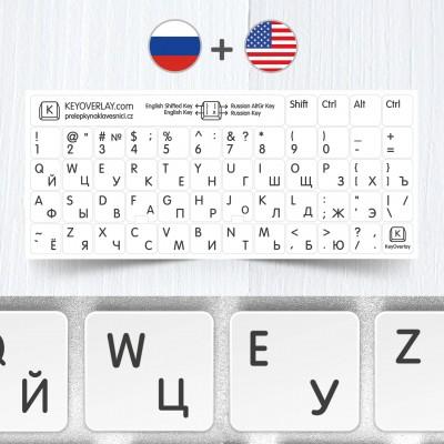 Ruské přelepky spolu s anglickým US rozložením na bílém pozadí
